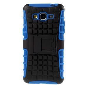 Vysoce odolný kryt so stojanom pre Samsung Galaxy Grand Prime - modrý - 3