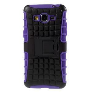 Vysoce odolný kryt so stojanom pre Samsung Galaxy Grand Prime - fialový - 3