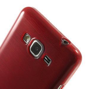 Broušený gélový obal pre Samsung Galaxy Grand Prime - červený - 3