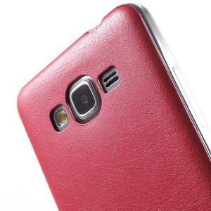 Ultratenký kožený kryt pre Samsung Grand Prime - červený - 3
