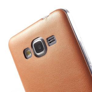 Ultratenký kožený kryt pre Samsung Grand Prime - oranžový - 3