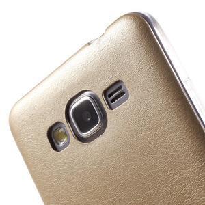 Ultratenký kožený kryt na Samsung Grand Prime - zlatý - 3