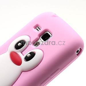 Silikonový obal tučniak pre Samsung Galaxy S Duos - ružový - 3