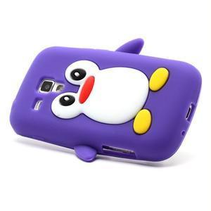 Silikonový obal tučniak pre Samsung Galaxy S Duos - fialový - 3