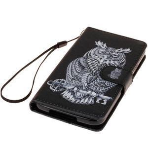 Knížkové PU kožené puzdro pre Samsung Galaxy S5 - sova - 3