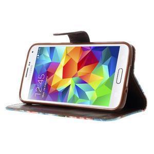 Kvetinové puzdro pre mobil Samsung Galaxy S5 - modré pozadie - 3