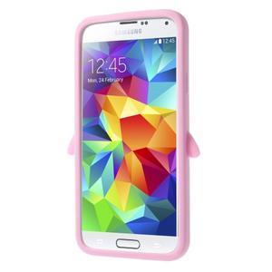 Penguin silikonový obal pre Samsung Galaxy S5 - ružový - 3