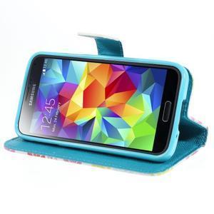 Emotive PU kožené puzdro pre Samsung Galaxy S5 mini - farebné kvety - 3