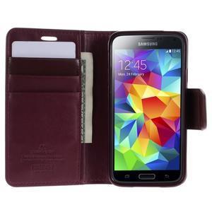 Sonata PU kožené pouzdro na Samsung Galaxy S5 mini - vínové - 3