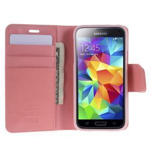 Sonata PU kožené pouzdro na Samsung Galaxy S5 mini - růžové - 3