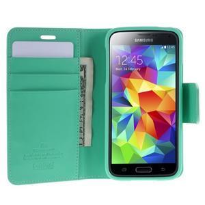 Sonata PU kožené pouzdro na Samsung Galaxy S5 mini - azurové - 3