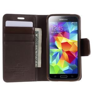 Sonata PU kožené pouzdro na Samsung Galaxy S5 mini - hnědé - 3