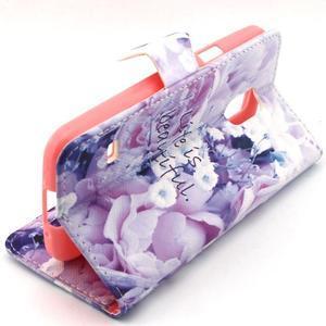 Peňaženkové puzdro pre mobil Samsung Galaxy S5 mini -  kvety - 3