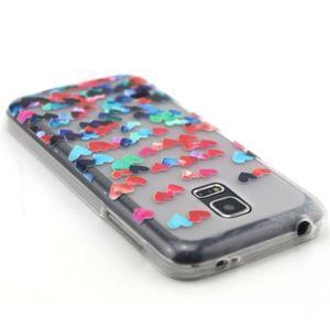 Transparentní gelový obal na mobil Samsung Galaxy S5 mini - srdíčka - 3