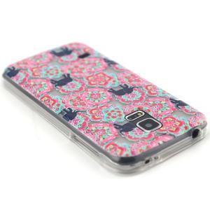 Transparentní gelový obal na mobil Samsung Galaxy S5 mini - květiny a sloni - 3