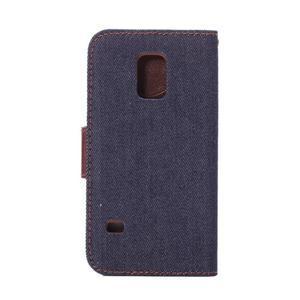 Jeans peňaženkové puzdro pre Samsung Galaxy S5 mini - čiernomodré - 3