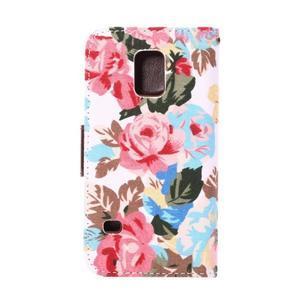 Kvetinové puzdro pre mobil Samsung Galaxy S5 mini - biele pozadie - 3