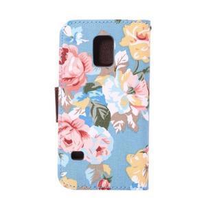 Kvetinové puzdro pre mobil Samsung Galaxy S5 mini - modré pozadie - 3