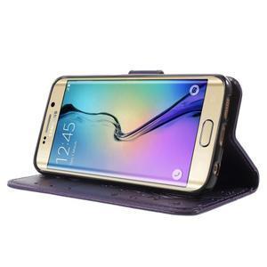 Butterfly PU kožené puzdro pre mobil Samsung Galaxy S6 Edge - fialové - 3