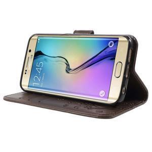 Butterfly PU kožené puzdro pre mobil Samsung Galaxy S6 Edge - coffee - 3