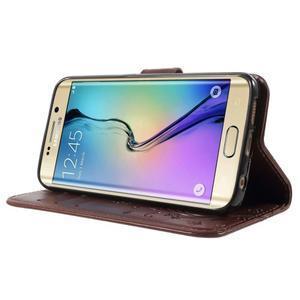 Butterfly PU kožené puzdro pre mobil Samsung Galaxy S6 Edge - hnedé - 3