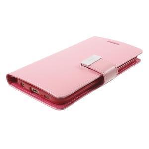 Richdiary PU kožené puzdro pre mobil Samsung Galaxy S6 Edge - ružové - 3