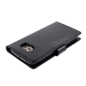 Richdiary PU kožené puzdro pre mobil Samsung Galaxy S6 Edge - čierne - 3