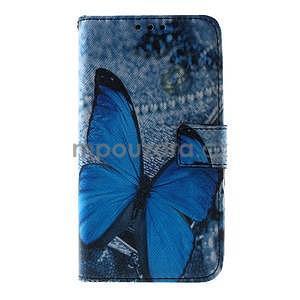 Peňaženkové puzdro pre Sony Xperia E4g - modrý motýľ - 3