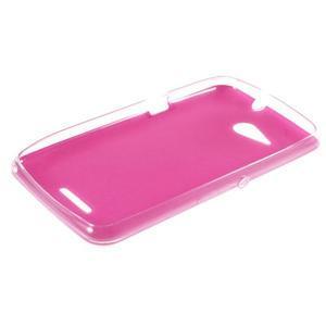 Gélový obal na Sony Xperia E4g s koženkovým chrbtom - ružový - 3