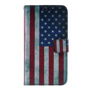 Peňaženkové puzdro pre Sony Xperia E4g - USA vlajka - 3