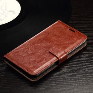 Horse PU kožené puzdro pre mobil Sony Xperia E4g - hnedé - 3