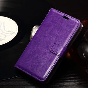 Horse PU kožené puzdro pre mobil Sony Xperia E4g - fialové - 3