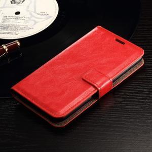 Horse PU kožené puzdro pre mobil Sony Xperia E4g - červené - 3