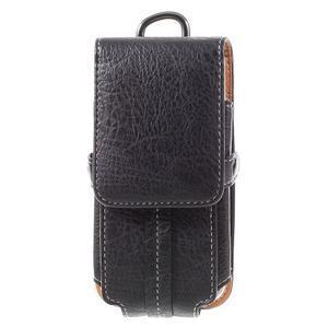 Cestovní PU kožené peňaženkové puzdro do rozmerov 150 x 73 x 15 mm - čierne - 3
