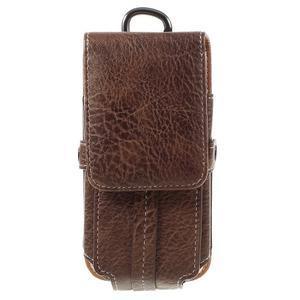 Cestovní PU kožené peňaženkové puzdro do rozmerov 150 x 73 x 15 mm - coffee - 3