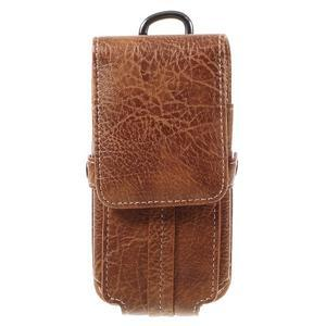 Cestovní PU kožené peněženkové pouzdro do rozměru 150 x 73 x 15 mm - hnědé - 3