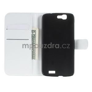 Kožené peňaženkové puzdro na Huawei Ascend G7 - biele - 3