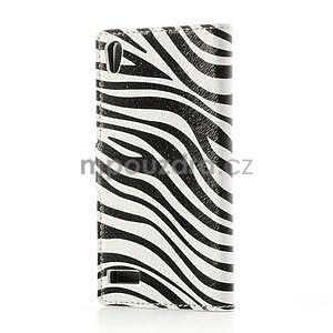 Peňaženkové puzdro na Huawei Ascend P6 - zebra - 3