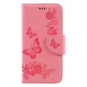 Butterfly PU kožené puzdro na mobil Huawei Y5 II - růžové - 3