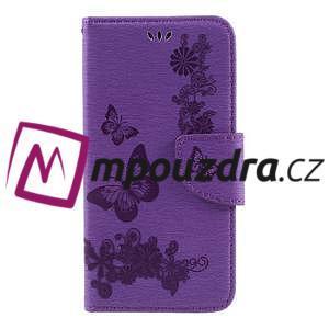 Butterfly PU kožené puzdro na mobil Huawei Y5 II - fialové - 3