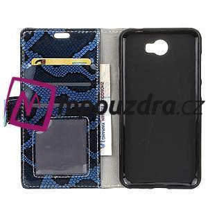Pouzdro s hadím motivem na mobil Huawei Y5 II - modré - 3
