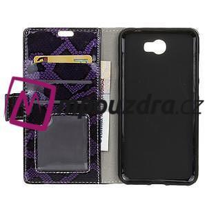Pouzdro s hadím motivem na mobil Huawei Y5 II - fialové - 3
