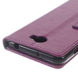 Horses PU kožené puzdro na Huawei Y6 II Compact - fialové - 3