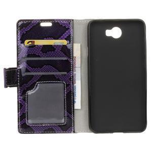Peňaženkové puzdro s hadím motívom na Huawei Y6 II Compact - fialové - 3