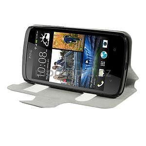 Flipové kožené puzdro na HTC Desire 500 - tmavě fialové - 3