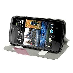Flipové kožené puzdro na HTC Desire 500 - růžové - 3