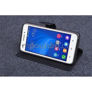 Čierné kožené peňaženkové puzdro na Huawei Ascend G620s - 3