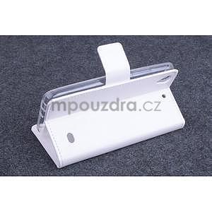 Bílé kožené peňaženkové puzdro na Huawei Ascend G620s - 3