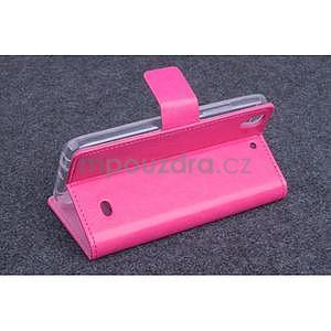 Růžové kožené peňaženkové puzdro na Huawei Ascend G620s - 3