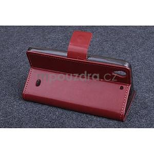 hnedé kožené peňaženkové puzdro na Huawei Ascend G620s - 3